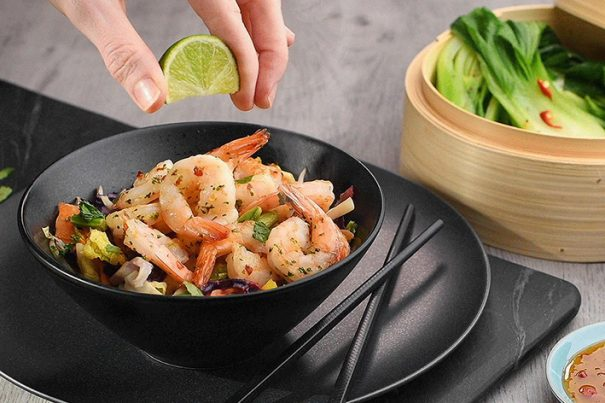Prawn stir fry in Japanese style bowl